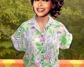 vintage 80s blouse SAFARI print tie front half shirt crop top midriff women's Medium