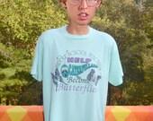 vintage 80s t-shirt middle school TEACHER caterpillar butterfly wtf nature tee XL Large mint green