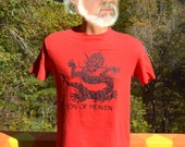 vintage 80s t-shirt son of HEAVEN imperial art china museum soft tee red Medium Small asian