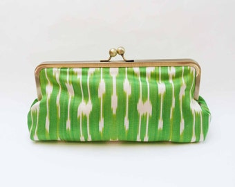 Clutch bag, bright green and cream ikat fabric purse, silk evening purse