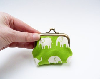 Coin purse, elephant fabric, novelty purse