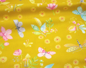 Remnant 1 yd - Little World in Amber - from the Nature Walk collection by Tamara Kate for Michael Miller Fabrics - LWNW281
