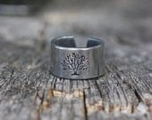 Tree of Life - hand stamped aluminum adjustable band ring