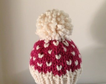 Bobble Beanie Baby Girl Hat, Knit Baby Hat, Pom Pom Baby Hat, Fair Isle Raspberry and Fisherman