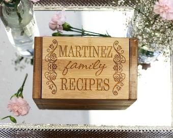 Personalized Recipe Box, Custom Recipe Box, Engraved Wood Recipe Box --6808