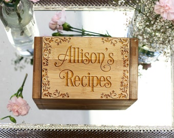 Personalized Recipe Box & Dividers, Recipe Box Cards, Engraved Recipe Box, Foodie Couples Wedding Anniversary Gift, Bamboo Wood --6814