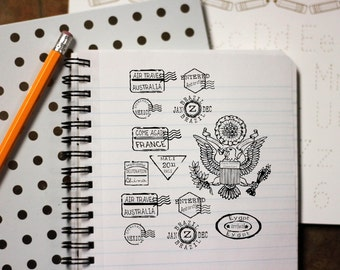 Pretend passport rubber stamps for travel and destination events and projects  12 countries