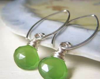 Green Gemstone Earrings, Spring Green Chalcedony Briolette Earrings Sterling Silver Wirewrapped Gemstone, Simple Green Teardrop Dangle