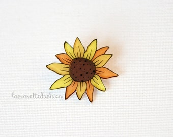 Sunflower brooch pin, yellow flower brooch, wearable art, sunflower jewelry