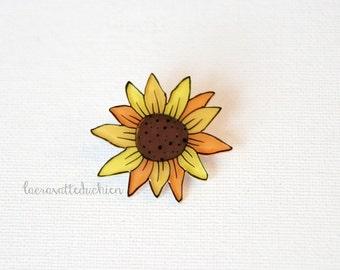Sunflower brooch pin, yellow flower brooch, wearable art, sunflower jewelry