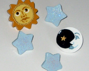 Sun Moon Stars Heavenly Bodies Celestial Universe Push Pins Hand Painted Handmade for Bulletin Memo Memory Message Note Cork Board