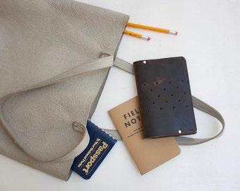 Perforated Leather Passport Holder / Passport Wallet / Monogrammed Leather Passport Cover / Pocket Size Passport Holder / Field Notes Wallet