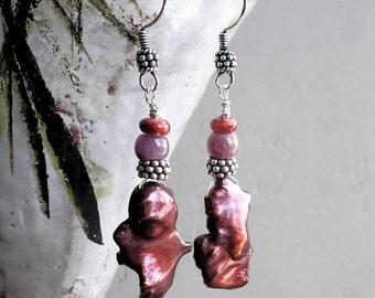 Ruby Pearl Earrings- Ethnic Boho Wire Wrapped Ruby Gemstone Baroque Pearl Artisan Earrings For Women
