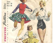 Vintage 50s Simplicity 4035  Sewing Pattern Tap dance trunksHigh Waist Shorts blouse skating outfit Rockabilly Burlesque B34