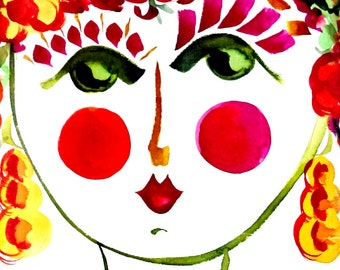Meet Poppy! - Portrait of  Flower Girl - Carmen Miranda Inspired Face - Print from Original Watercolor Painting by Suzanne MacCrone Rogers