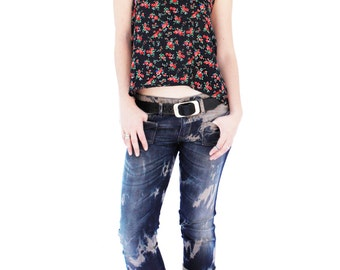 Agoraphobix Bomb Shell bleached upcycled denim | low waist skinny jeans | upcycled denim | 90s clothing