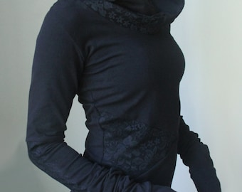 hooded top with extra long sleeves/ Black with Black Floral Lace details