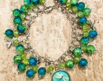 Aqua Blue and Yellow Green with Dragonflies Cha Cha Charm Bracelet