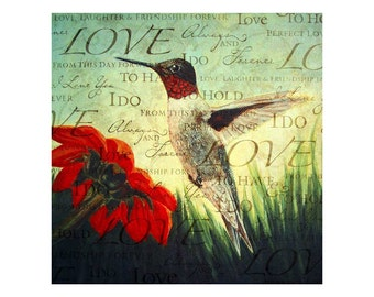 Hummingbird - Art Print - Red breasted - Love Is Timeless - 8x8