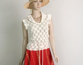 Vintage Knit Blouse - Crochet Cream Loose Fit 1970s 1980s Peplum Sweater Top - Small