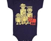 Robots Onesie - Baby Infant One Piece Cute Retro Scifi Science Fiction Geek Robot Dog Futuristic Vintage Bodysuit Romper Navy Blue Jumper