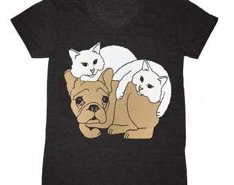 Womens Dog & Cat T-shirt - Girls Tee Shirt French Bulldog Cat Kittens Best Friends Kitties FrenchBulldog Cats Pets Frenchie Cute Tshirt