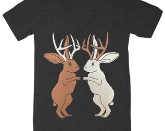 Jackalopes - V-neck T-Shirt Tee Shirt Cute Jack Rabbit Antlers Bunny Bunnies Deer Antelope Woodland Forest Fantasy Fairytale Animals Tshirt