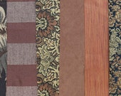 Earthy Brown & Cinnamon Fabric Pack, Collection...DESTASH SALE, Closeout Clearance, 6 home design samplers, remnants, scraps, texture -F1604