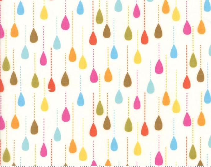 Boho fabric, White fabric, Raindrops by Moda fabric, Fall fabric, Cotton fabric, Drops in Cloud, Choose the Cut