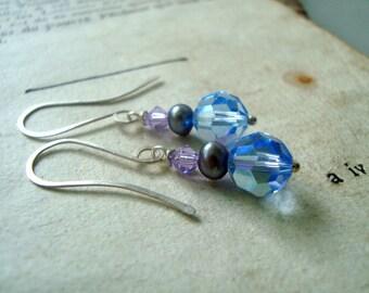 Blue Crystal Earrings With Purple Pearls Bridesmaid Earrings Swarovski Crystal Weddings June Birthstone Bridal Jewelry Pearl Jewelry