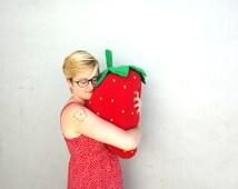 Giant Strawberry Pillow - Large Fruit Plush - Berry Body Pillow