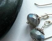 Labradorite Sterling Silver Artisan OOAK Handcrafted Boho Festival Edwardian Victorian Penny Dreadful Gift for Her Dangle Drop Earrings