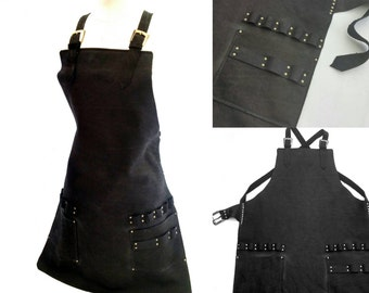 Stylist's Black Leather Apron with tool loops and pockets, brass buckles, cross straps