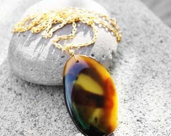 Pendant Necklace, Agate Stone Pendant, Natural Stone Necklace, Healing Stone, Zen, Earth Tones, Earth Tones Agate Stone Pendant Necklace