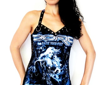 Doro shirt heavy metal tank lace up top alternative clothing apparel reconstructed rocker clothes altered band tee t-shirt