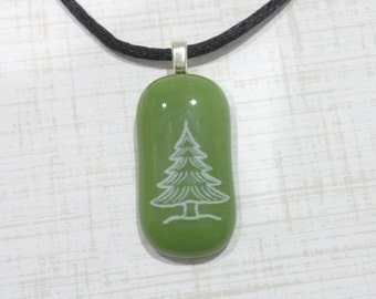 Christmas Tree Pendant, Green Pendant with White Tree Decal, Fused Glass Jewelry, Gifts Under 20 - Christmas Tree- -5