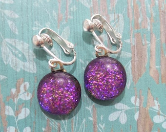 Dangle Clip On Earring, Dichroic Jewelry, Pink, Purple, Non Pierced Earrings, Fused Glass Jewelry, Clip on or Niobium Option- Sweetie Pie -6