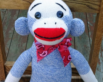 Original Sock Monkey Doll - One of a Kind Traditional Sock Monkey with Unique Features and Red Bandana