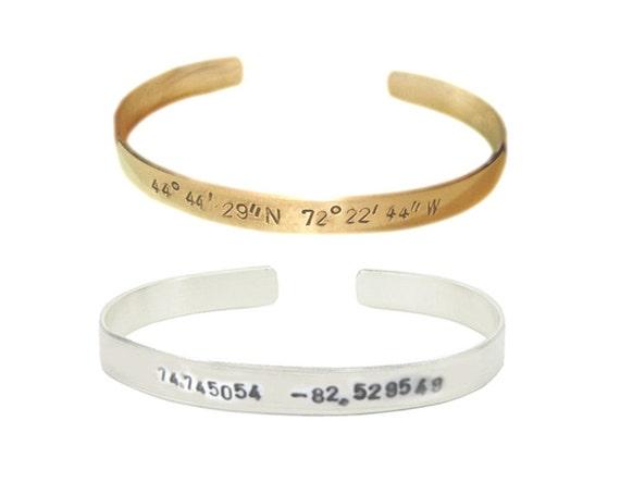 Longitude Latitude Cuff Bracelet, Hand Stamped Personalized Bracelet, Coordinate Bracelet, Hammered GPS Bracelet, brass or alumn