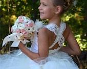 Vintage Ivory Lace Flower Girl Dress, Wedding Flower Girl  Dress  All Sizes Girls