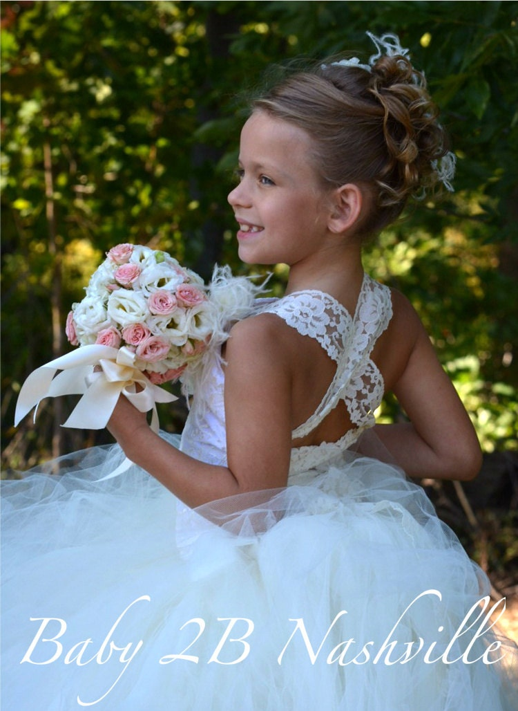 Vintage Ivory Lace Flower Girl Dress Wedding by ...