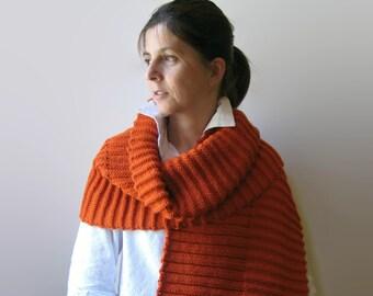 Orange Scarf, Wool Knit Scarf, Long Scarf, Shawl Scarf, Knit Scarf, Womens Scarves, Mens Scarf, Hand Knit Scarf, Merino Wool, Wrap Scarf
