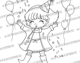 Digital Stamp Party Celebration, Digi Download, New Year, Congratulations, Balloons Girl, Happy Birthday, Clip Art Graphic, Coloring Page