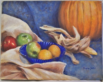 Original Autumn Still Life Painting Acrylic on 11x14 inch Canvas