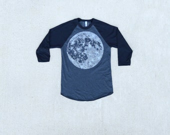 Full MOON mens tshirt, mens graphic tee, unisex baseball tee, moon screenprint on American Apparel heather black, astronomy shirt for him