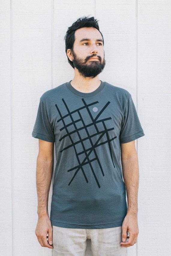 You Are Here - men's graphic tee - mens tshirt - city map screenprint on asphalt gray - t shirt men - gift for travelers - wanderlust shirt
