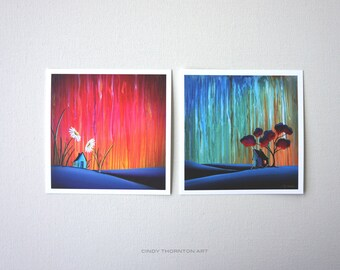 Nature and Whimsy Series Mini Print Set - 'Down In The Valley' & 'Where Flowers Bloom' - Signed
