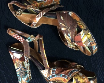 Vintage 60's 70's Thom Mcan heels size 8 b Psychedelic Stappy Platform womens ladies shoes RARE