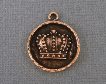 Crown Charm Crown Pendant Antique Copper Round Medallion Regal Royalty Pendant for Necklace |NU1-12|1 XN