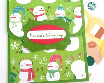Holiday Gift Card Holder, Snowman Gift Card Holder, Seasons Greetings Christmas Gift Card Holder, Money Card, Snowman Cards